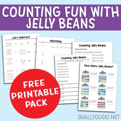 Counting and math practice is always more fun when treats are involved! Kids will love working through this Jelly Bean Counting Pack as they improve their skills. They will work on counting, simple addition and subtraction plus color recognition and matching! #iaydhomeschoolers #iaydcommunity #counting #math