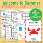Welcome To Summer Preschool Activity Pack 30+ Pages of Learning Activities