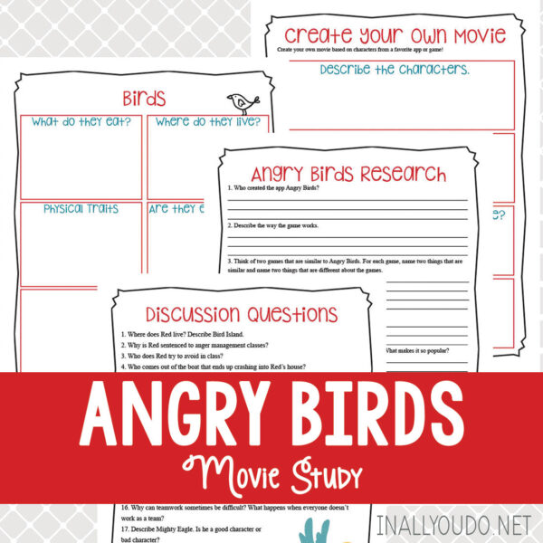 The Angry Birds Movie Study includes 4 pages of activities related to the movie. Kids will expand their critical thinking skills and stretch their imaginations as they reflect on the movie, its plot and look forward to the next one! This movie study is a wonderful addition to any family movie night or for a break in the everyday homeschool. #iaydhomeschoolers #iaydhsmoms #moviestudy #angrybirdsmovie