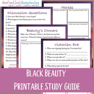 Black Beauty by Anna Sewell is a classic book that has been loved for generations. Try this engaging printable study guide to go along with either the book or the movie. You'll cover history, biology, character building and more! #blackbeauty #readaloud #homeschoolers #iaydhomeschoolers