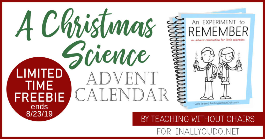 """An Experiment to Remember"" is a kid's advent calendar that uses simple, exciting science experiments as object lessons to teach about the Jesus. I hope you love them! Hurry and download yours before the offer expires on August 23, 2019! #iaydhomeschoolers #iaydcommunity #Christmas #Advent #Science"