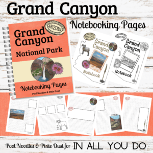 The Grand Canyon Notebooking Journal includes 45 pages about the Grand Canyon. You'll find pages for geography, landforms, flora pages found in the park, and fauna pages about two animals you will see. Get yours FREE for a limited time only thru September 13, 2019! #GrandCanyon #travel #notebooking #iaydhomeschoolers