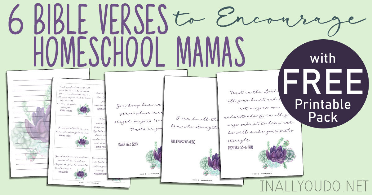 I have created a simple printable pack to help you keep these six encouraging verses in front of you as a reminder as you walk through this homeschool journey. This 9-page pack includes six posters with one verse on each, a page of six memory cards and two lined journal pages. #iaydhomeschoolers #homeschoolmoms #iaydhsmoms #homeschoolingmoms