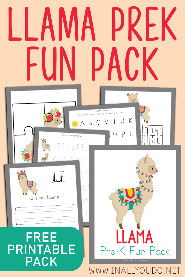 This Llama Themed PreK Fun Pack includes 24 pages of activities to help improve handwriting, fine motor skills, counting, matching and much more! You'll find hands-on activities, such as puzzles and a roll-a-graph worksheet. #prek #preschoolers #iaydhomeschoolers #iaydhsmoms