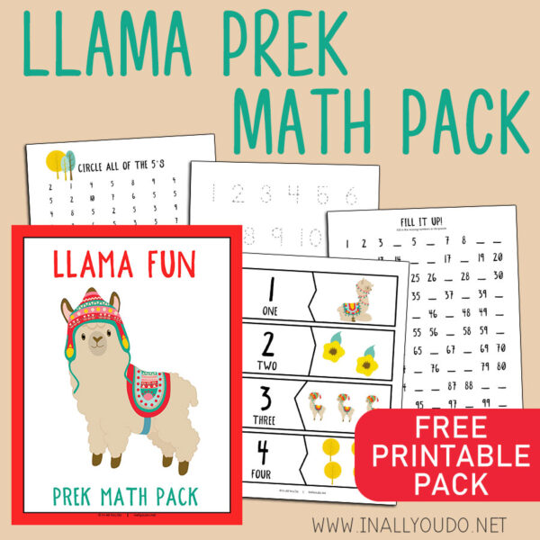 The Llama Pre-K Math Pack includes 14 pages of activities to help your little ones work on their math skills. This pack contains graphing exercises, 11 different puzzles, counting practice to 100, number words, tracing and number recognition pages (1-10). #math #prek #preschool #homeschoolers #iaydhomeschoolers