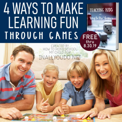 Over the years, I discovered several ways to make learning fun in our homeschool. Choose one of the following and start using it in your homeschool. Be sure to download your FREE Games ebook today. Hurry...this is only available thru August 30, 2019. #homeschoolers #iaydhomeschoolers #gameday #familygamenight