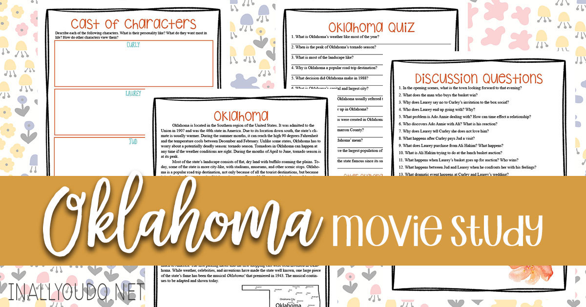 "If you're just starting to study musicals in your homeschool, ""Oklahoma!"" is a great place to begin. It is fun, easy to follow and has some great songs and dances too. Use this musical study to easily bring in some learning as you watch this classic! #musicals #musicalstudy #iaydhomeschoolers #iaydcommunity"