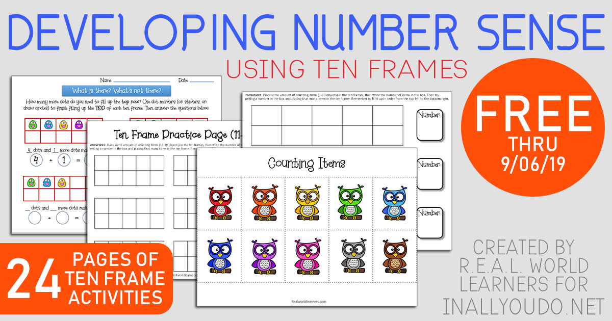 This ten frame activity sample pack includes ten frame mats, twenty frame mats, practice pages with re-usable templates and worksheets to practice seeing and writing equations! #math #tenframes #iaydhomeschoolers #iaydhsmoms