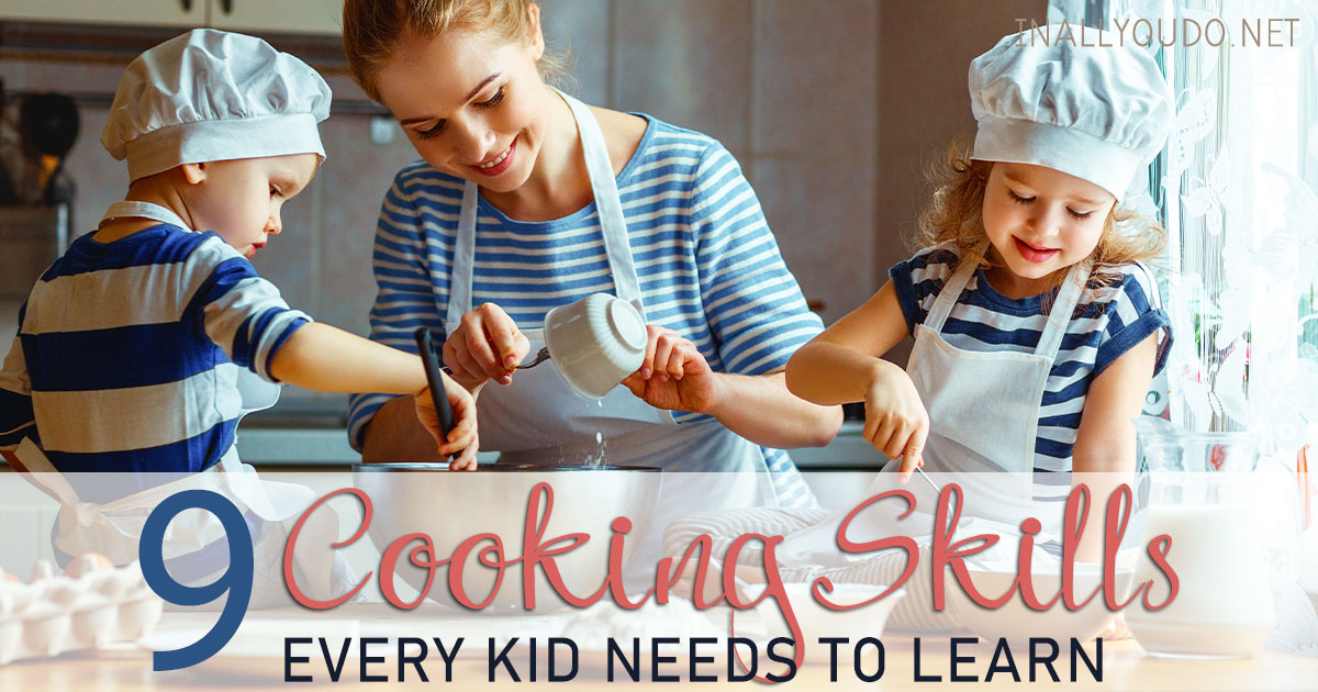 Even though cooking isn't my favorite thing, I want my kids to know how to cook. Learning to cook will feed them for a lifetime and that is important to me. Of course, there are several skills that I think are vital - find out what they are! #cooking #kidscook #iaydhomeschoolers #iaydhsmoms #iaydcommunity