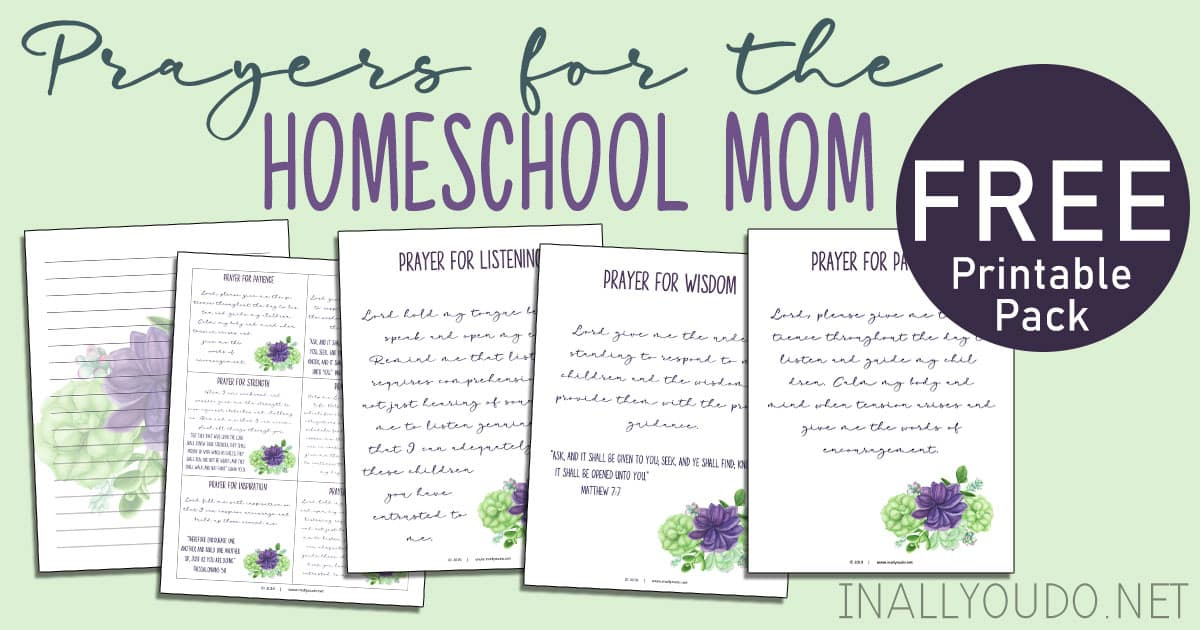 I have created a simple printable pack to help you keep these prayers in front of you as an encouragement and promise as you walk through this homeschool journey. This 14-page pack includes ten posters with one prayer on each, a ten memory cards and two lined journal pages. #prayers #Bible #homeschoolmoms #iaydhomeschoolers