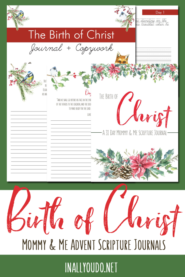 The Birth of Christ: A 31-Day Mommy & Me Scripture Journal is a wonderful Advent study that continues on through the end of December. This study takes you the heart of the Gospel of Luke before you arrive at the birth of Christ. It is the perfect study to help you draw closer to Christ and your children this Christmas season. #Christ #Advent #Christmas #iaydcommunity