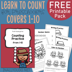 Little ones will love working on their counting skills with this Farm Girl themed pack. This 16-page pack includes practice pages your preschoolers will enjoy. #counting #preschoolers #iaydhomeschoolers #homeschoolers