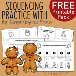 This adorable Gingerbread Man Sequencing Pack is a fun and simple way to help little ones work on their sequencing skills. #sequencing #preschoolers #iaydhomeschoolers #iaydcommunity