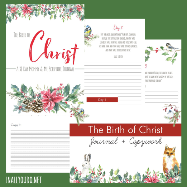 The Birth of Christ: A 31-Day Mommy & Me Scripture Journal is a wonderful Advent study that continues on through the end of December. This study takes you the heart of the Gospel of Luke before you arrive at the birth of Christ. It is the perfect study to help you draw closer to Christ and your children this Christmas season. #Christ #Christmas #BirthofChrist #iaydcommunity