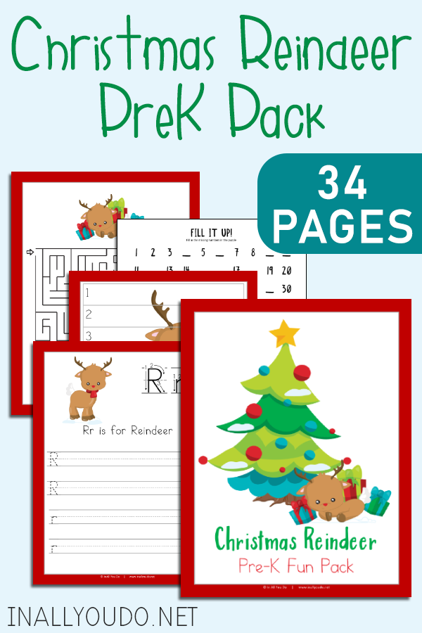 The Christmas Reindeer PreK Pack includes 34 pages of activities to help your little ones work on their handwriting and math skills. #iaydhomeschoolers #iaydhsmoms #homeschoolers #Christmas