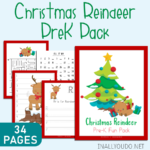 Christmas Reindeer PreK Handwriting & Math Pack