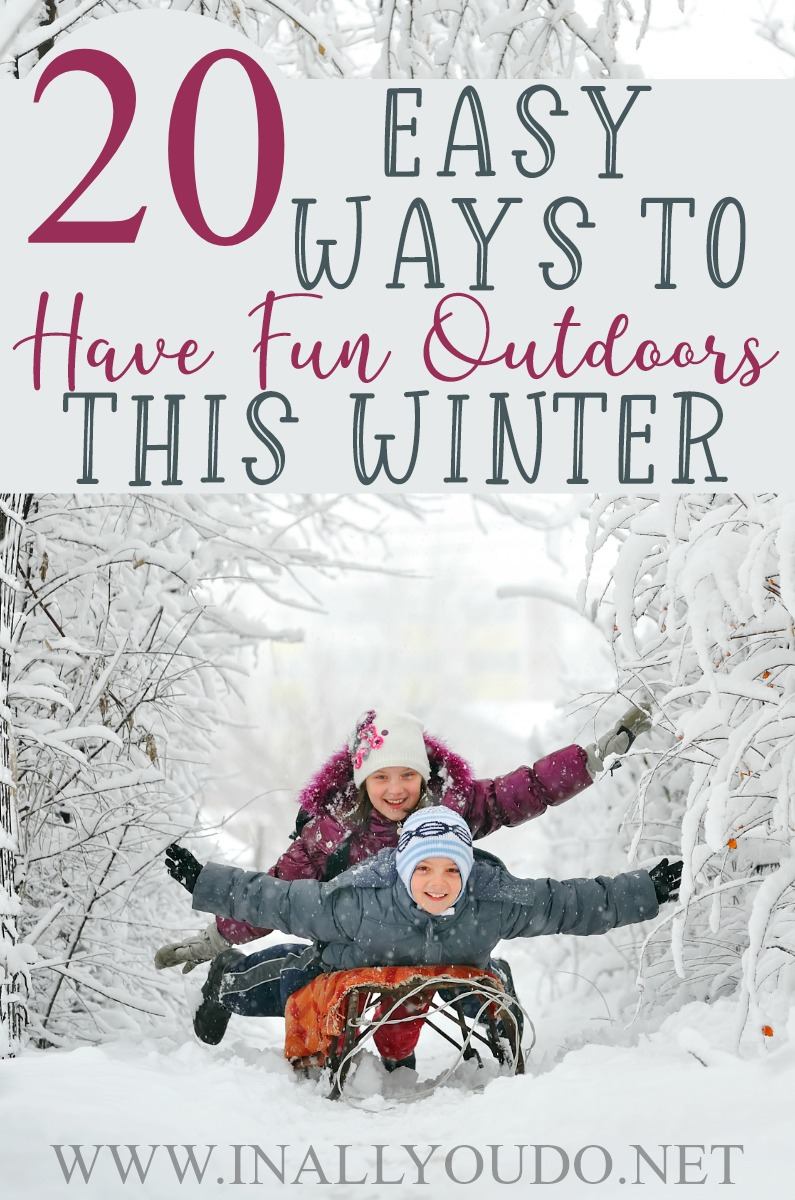It is tempting to stay snuggled up inside where it's warm during the cold, winter months. But, it is important to get outside, even when the skies are gray. Thesetwenty ideas will not only get you outside, but also give you some fun this winter! #winter #outdoors #family #parents