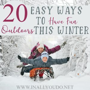 It is tempting to stay snuggled up inside where it's warm during the cold, winter months. But, it is important to get outside, even when the skies are gray. These twenty ideas will not only get you outside, but also give you some fun this winter! #winter #outdoors #family #parents
