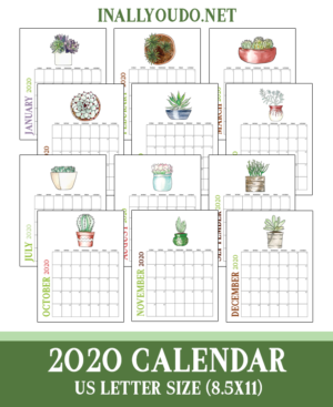 2020 Printable Succulent Calendars