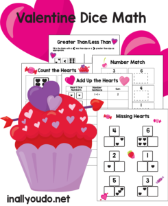 valentine's day themed prek math pages with hearts
