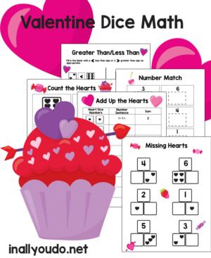 Valentine's Dice PreK Math Pack