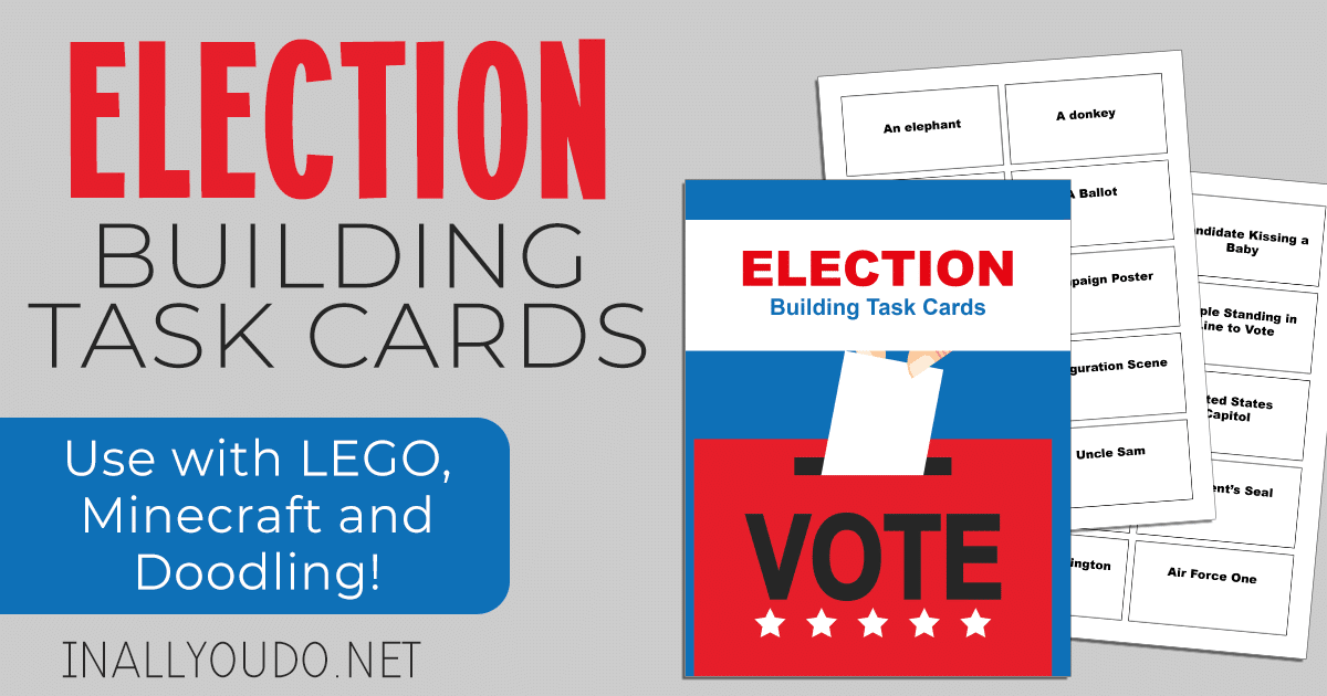 Gray background with Election Building Task Card samples overlaid