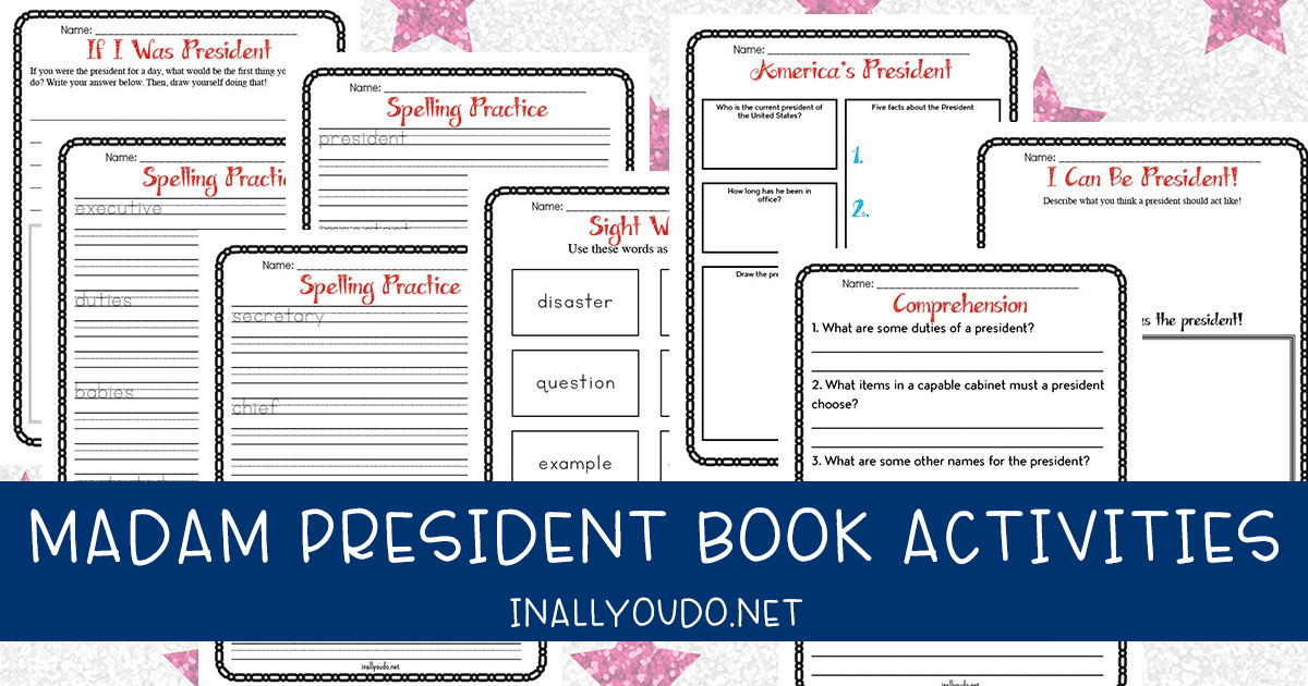Madam President Book Activities with sample pages