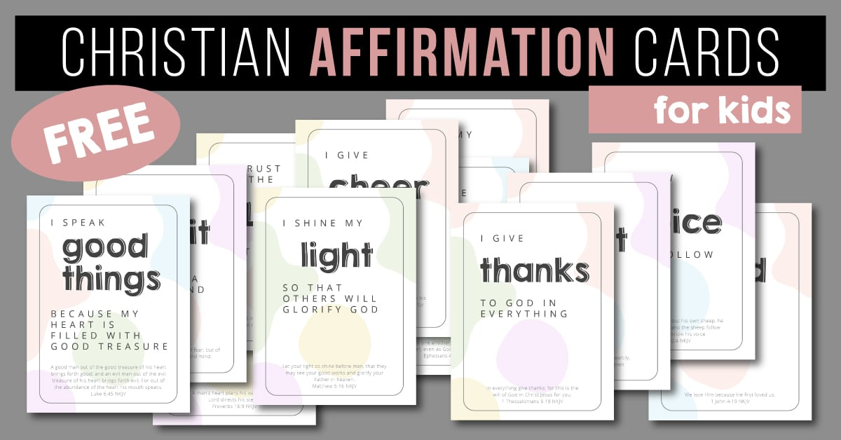 sample pages of Christian Affirmations for Kids Cards