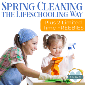 mom teaching daughter how to clean - spring cleaning