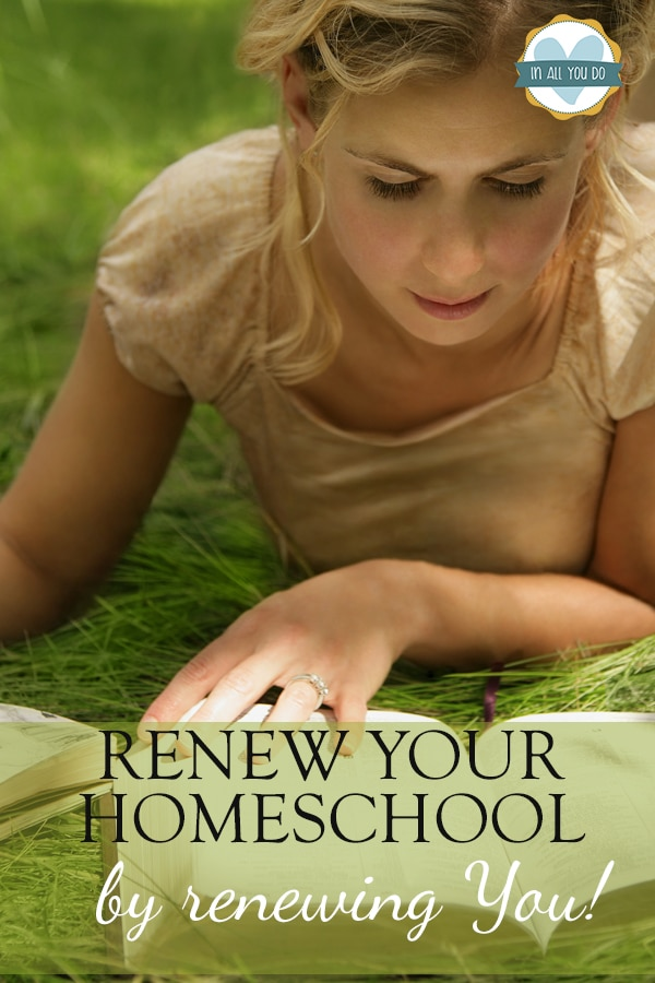 "mom lying in grass reading her Bible with overlay ""Renew Your Homeschool by renewing you!"""