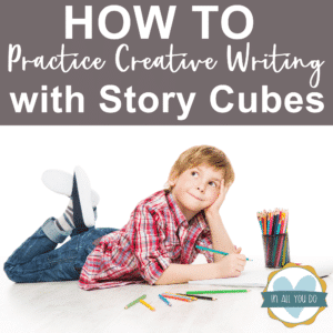 young boy practicing creative writing with story cubes